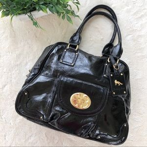 Emma Fox black patent leather hand bag